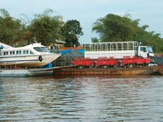 The river is used to transport everything, even boats