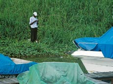A man fishing by the Kinshasa Yatch Club Marina.