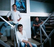 Keitan Yadav, VFX Producer, Anubhav Sinha, Ra.One director, and Haresh Hingorani, VFX supervisor for redchilies.vfx