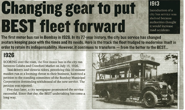 Castrol ad appeared on the first BEST bus that ran in Mumbai in 1926