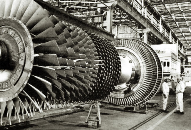 A steam turbine at the Triveni manufacturing facility at Peenya, Bangalore