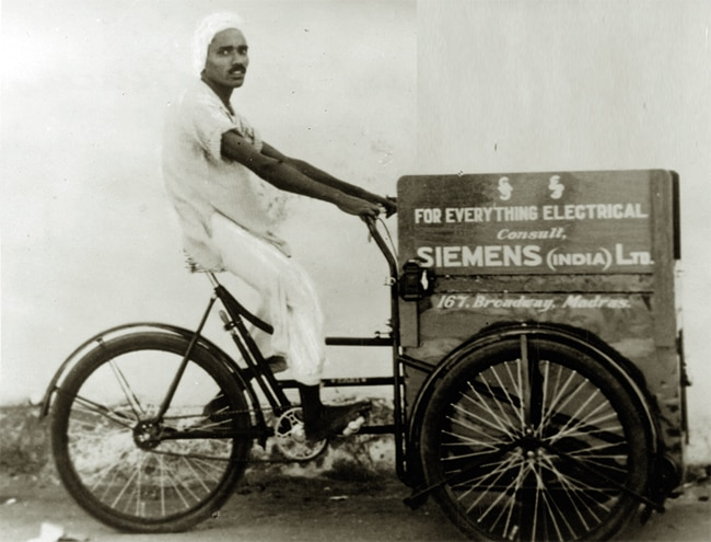 Siemens's Express Delivery service where mechanics on cycles went around repairing electrical equipment in the late 1960s