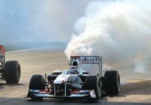 A Sauber F1 car's engine blows up