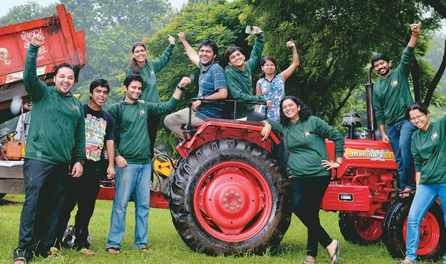IRMA students on a tractor