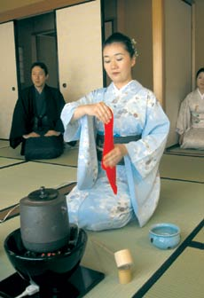 A traditional Japanese tea ceremony being performed