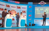 Mental wrestling: Quizmaster Harsha Bhogle and participants of the Quiz round