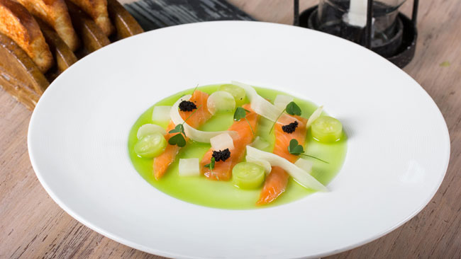 Cured salmon with green apple and cucumber water