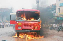 Haveri burns: A bus goes up in flames