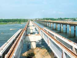 The one on track: This IVRCL project on the Salem-Coimbatore route is currently under construction