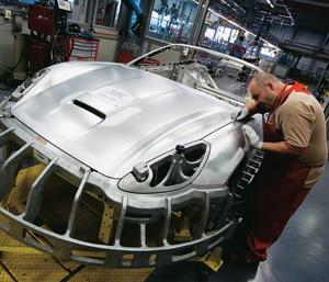 A Ferrari going through its 'aesthetic compliance check'