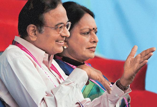 Former Union Finance Minister P Chidambaram with his wife Nalini