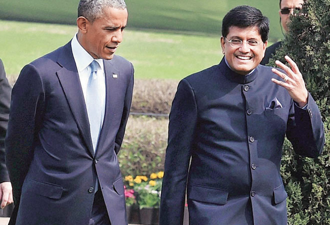 US President Barack Obama with coal and power minister Piyush Goyal