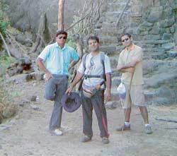 The adventure element in work: TrainingCentral's Navalkar (centre) trekking in Siddagad, Maharashtra