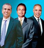 Leading the pack (L-R): Bharti Airtel's Sunil Bharti Mittal, R-Comm's Anil Ambani and Vodafone's Arun Sarin