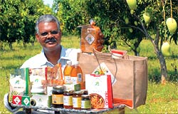 Healthy and chemical-free: Seelam displays his organic food range