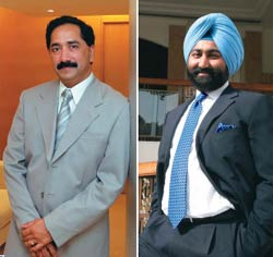 In the discomfort zone: Orchid's Rao (left), with Ranbaxy's Singh mopping up stake