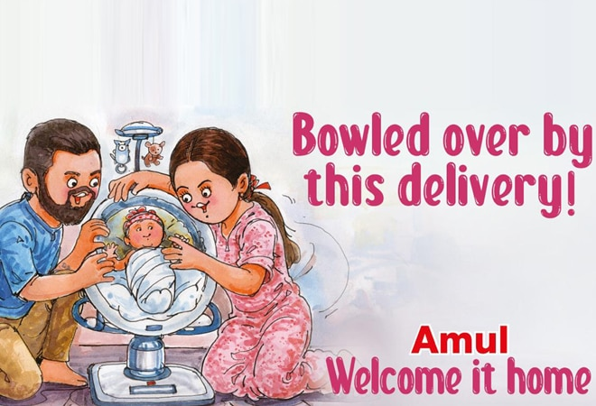 'Bowled over by this delivery': Amul wishes Anushka, Virat in adorable doodle