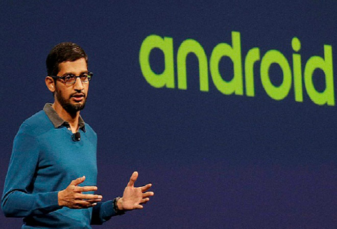 Google CEO, Sundar Pichai at the Google I/O 2015 keynote presentation in San Francisco