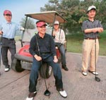 Sujin Park 48, (foreground) and fellow South Koreans in Noida