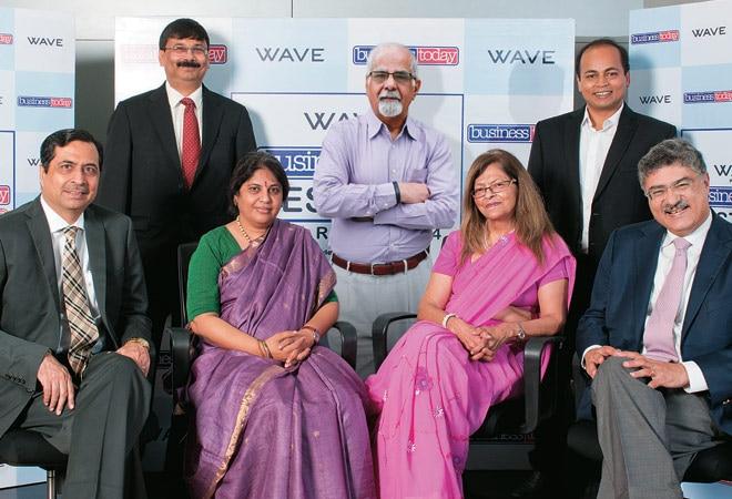 THE JURY: (From left) Gagan Rai, Managing Director, NSDL e-Governance Infrastructure; Prosenjit Datta, Editor, Business Today; Rama Bijapurkar, eminent strategy consultant; Surjit Bhalla, Managing Director, Oxus Research; Kalpana Morparia, CEO, JP Morgan