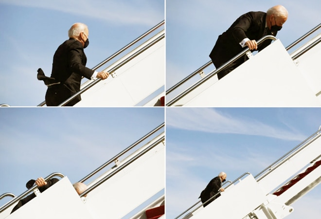 Watch: US President Joe Biden falls thrice while boarding Air Force one