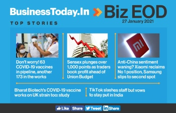 Biz EOD: 63 new COVID-19 vaccines soon; Sensex plunges 1,000 points; Xiaomi reclaims top position