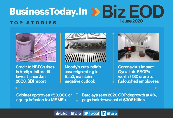 Biz EOD: Credit to NBFCs rises; Moody's cuts India's sovereign rating; Oyo allots ESOPs worth Rs 130 crore