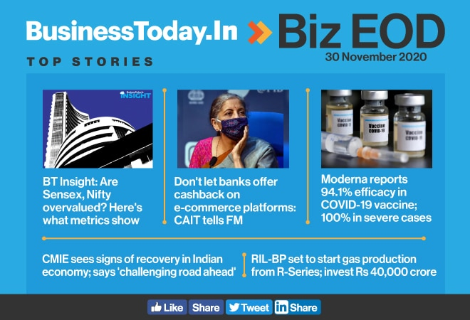 Biz EOD: Are Sensex, Nifty overvalued; Moderna COVID vaccine 94.1% effective; signs of recovery in Indian economy