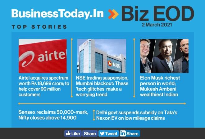 Biz EOD: Sensex reclaims 50,000-mark; Delhi suspends subsidy on Tata Nexon EV; daunting trend of 'tech glitches'