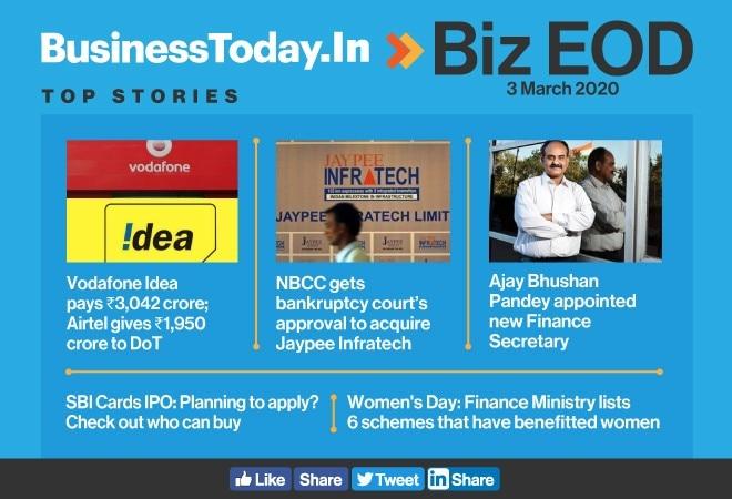Biz EOD: Telcos' fresh payout; Jaypee goes to NBCC; India's new Finance Secretary