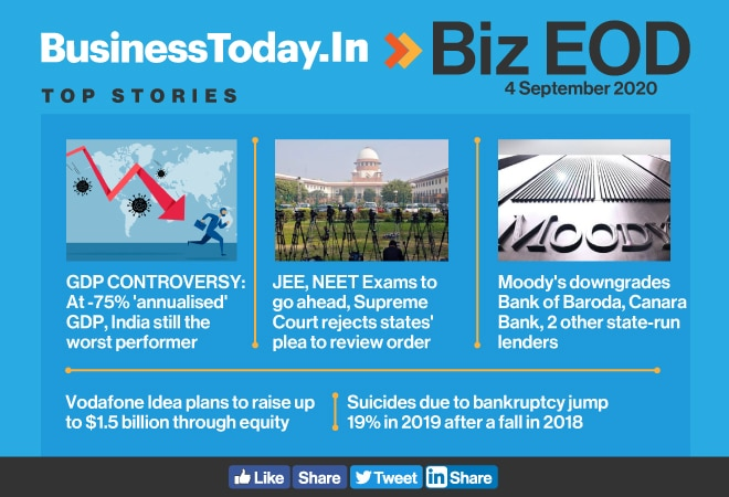 Biz EOD: India's GDP worst among major economies; rise in suicides due to bankruptcy; Moody's downgrades 4 state-run lenders