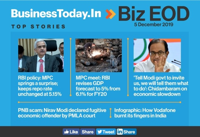 Biz EOD: RBI's repo surprise, Chidambaram offers to help Modi govt, Vodafone's endless troubles