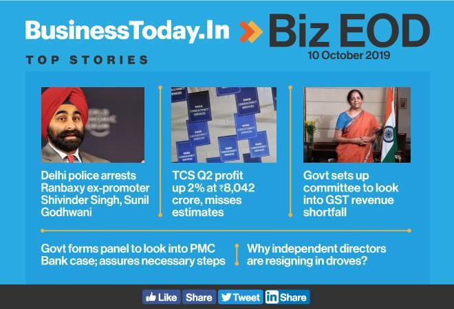 Biz EOD: Shivinder Singh arrested; TCS profit up 2%; govt to look into GST shortfall