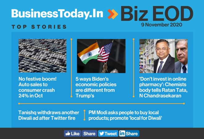 Biz EOD: No festive boom for auto industry; Biden's economic policies; Tanishq withdraws another ad
