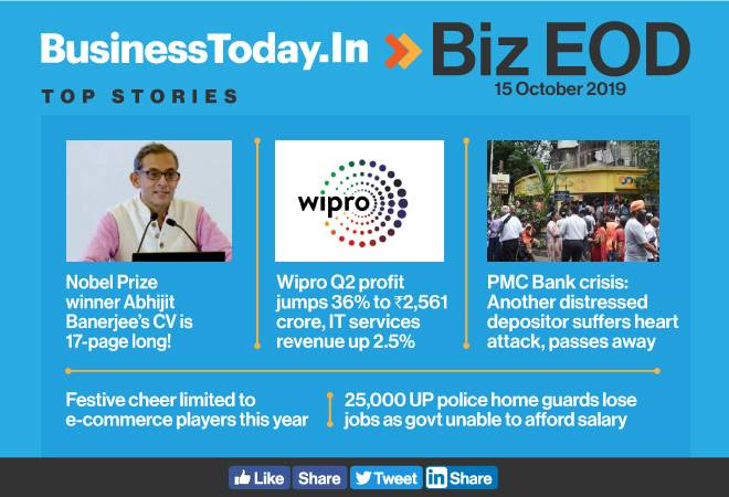 Biz EOD: Wipro Q2 profit rises 36%; Abhijit Banerjee's CV is 17-page long; Festive cheer limited to e-commerce players