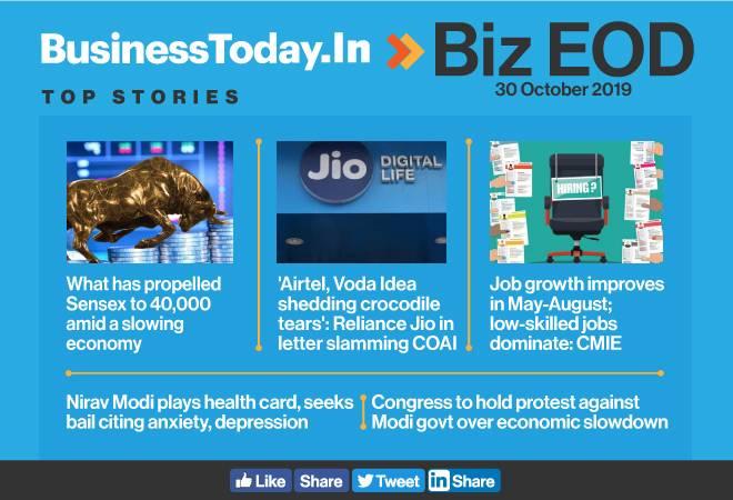 Biz EOD: Sensex hits 40,000; job growth improves; RCEP may hit domestic producers