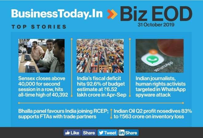 Biz EOD: Sensex at all-time high; fiscal deficit widens; WhatsApp under attack