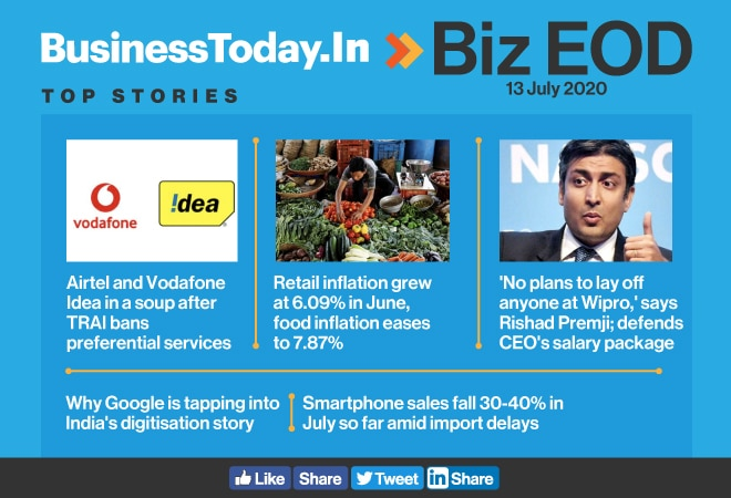 Biz EOD: Airtel, Voda Idea's priority services banned; Google's new India fund; CPI inflation cross 6%