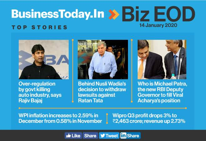 Biz EOD: Govt killing auto sector, says R Bajaj; Wadia withdraws lawsuits against Tata; WPI inflation rises
