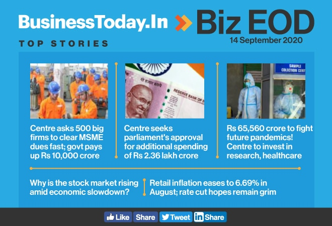 Biz EOD: Centre asks big firms to clear MSME dues; Rs 65,560 cr to fight future pandemics; retail inflation eases