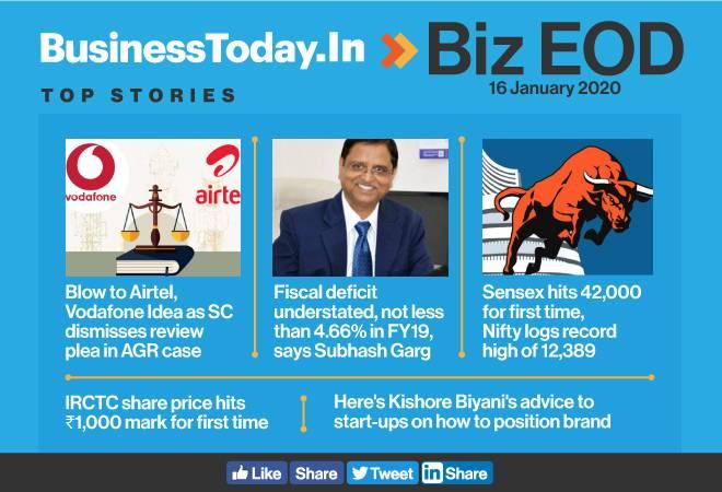 Biz EOD: SC dismisses AGR review plea; Sensex hits 42,000; Kishore Biyani's advice to start-ups