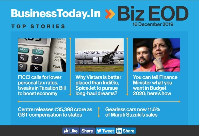 Biz EOD: FICCI bats for tax cuts, Vistara's brighter prospects, Centre's GST handout to states
