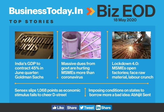 Biz EOD: India's GDP to contract 45%; MSMEs reopen; Sensex slips 1,068 points