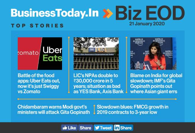 Biz EOD: Zomato acquires Uber Eats; LIC sees a rise in NPA; FMCG growth slips