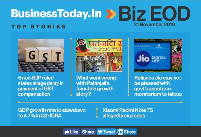 Biz EOD: Non-BJP states allege GST dues; Redmi Note 7S explodes; Patanjali slows down