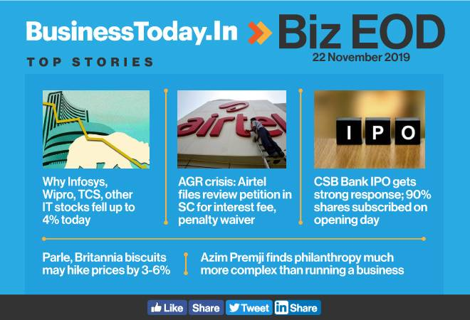 Biz EOD: IT stocks fall up to 4%, Airtel files AGR review petition, CSB Bank IPO shines