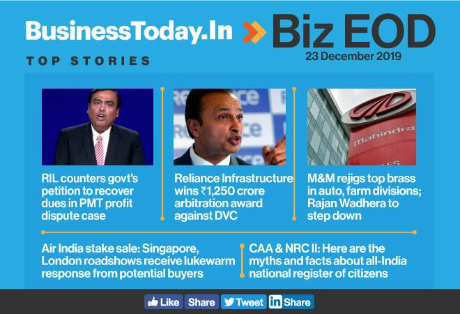 Biz EOD: RIL counters govt's petition; RInfra wins Rs 1,250 crore arbitration award; M&M rejigs auto, farm divisions