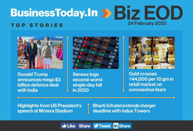 Biz EOD: India-US defence deal; Sensex's second-worst fall; Bharti Infratel-Indus Tower merger delayed