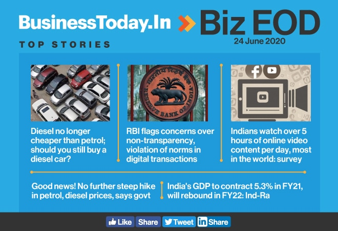 Biz EOD: Petrol, diesel price hikes to pause; online video viewing highest in India; GDP to contract in FY21