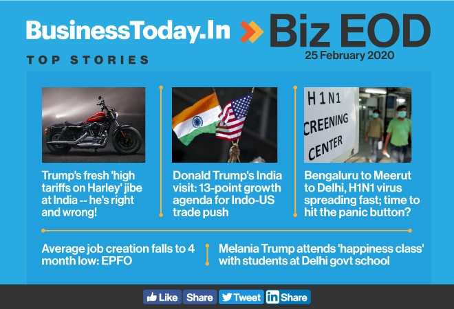 Biz EOD: Donald Trump's Harley jibe; swine flu scare; Melania's 'happiness class'
